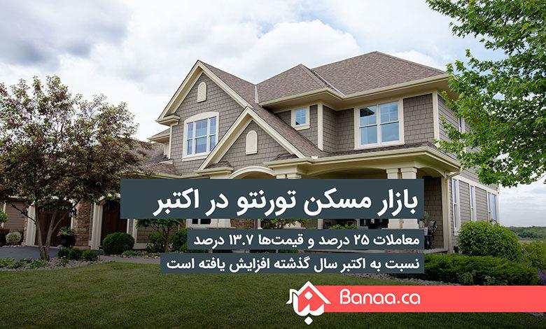 بازار مسکن تورنتو در اکتبر؛ معاملات ۲۵ درصد و قیمتها ۱۳.۷ درصد نسبت به اکتبر سال گذشته افزایش یافته است